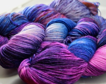 "Dyed on Demand Fingering ""Violet Backed Starling"" Hand Dyed Yarn"