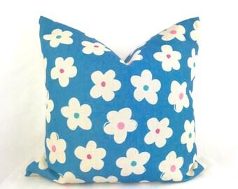 Teal flower print cushion, teal floral cushion, retro teal pillow, retro cushion cover, teal retro cushion, teal throw pillow