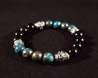 Aqua Pyrite and Obsidian Bracelet