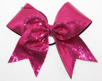 GORGEOUS Sequin HOT PINK Cheerleading Bow - Funbows