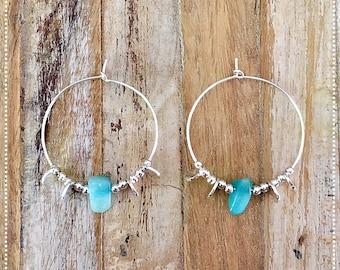 """""""Etnica"""" Amazonite and Sterling Silver 925 hoop earrings"""