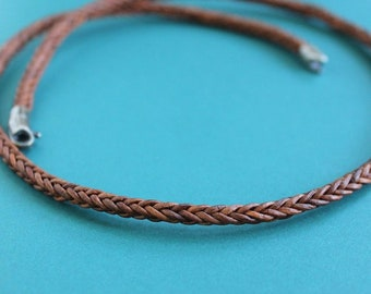 Square Braid Leather Cord Necklace, Sterling Silver Clasp, Natural Tan