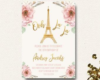 Paris Invitation Paris Birthday Paris Theme Eiffel Tower Invitation Parisian Ooh La La Oh La La Feather Gold Foil Floral DIY Printable