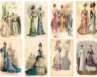 Instant Digital Download Edwardian Ladies Waring Hats and Dresses Collage (ED)