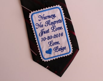 Monogrammed Rectangular Tie Patch, thank you for walking, rectangular necktie patches for Dad, Best Father of the Bride Gift. Wedding. F38