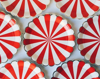 Stripe party plates, red and white stripe plates, red and white plates, circus party, red and white stripe circus plates, circus party
