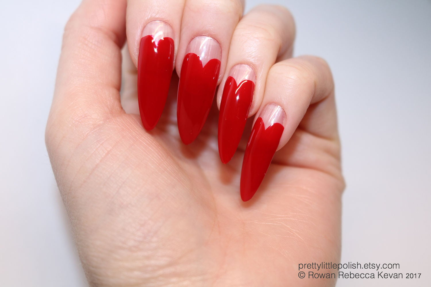 Red heart tip long stiletto nails 20 full set of nails