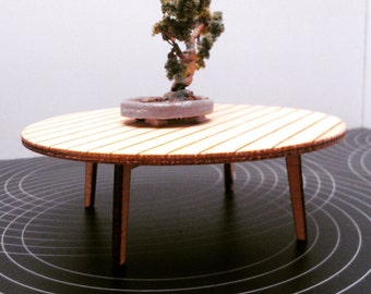 IKEA inspired miniature dollhouse modern round low table, 1/12 scale
