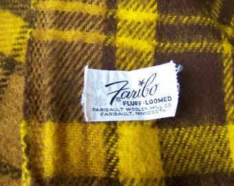 Vintage Faribo Yellow and Brown Plaid Blanket.Vintage Wool Blanket.Wilderness Lodge Decor.Vintage Stadium Blanket.Vintage Plaid Blanket.