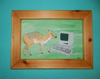 Computing Deer- Outsider, folk art, handmade, original, acrylic on wood, Framed