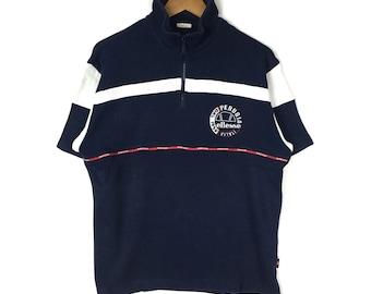 Rare!! Vintage ELLESSE Half Zipper Sweatshirt Black Colour