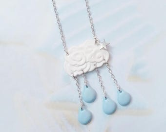 necklace cloud polymer clay