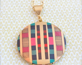 Vintage Art Locket Necklace Original Art Geometric Lines Alyson Fox Custom Photograph Jewelry Necklaces Unique Gifts for Her Portland Austin