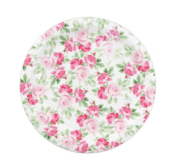 8 FLORAL TEA PARTY Paper Plates Parisian Vintage Style Shabby Chic Cottage Garden Tea Time Mint Green Pink Seafoam Rose Roses French Paris  sc 1 st  Etsy & 8 FLORAL TEA PARTY Paper Plates Parisian Vintage Style Shabby