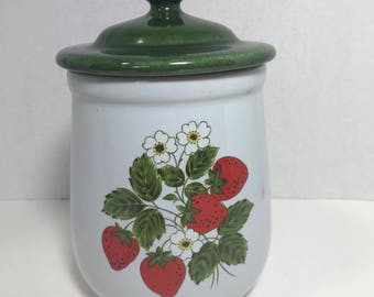 Vintage Mccoy Strawberry Canister Container Kitchen Storage