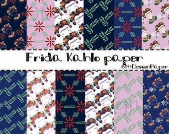 Digital Paper Frida Kahlo / patterns of Frida Kahlo / frida clipart / print frida flowers / Instant Download / scrapbooking / printable
