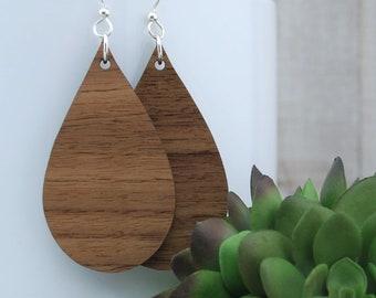 Wood Earrings - Wooden Teardrop Walnut Earrings - Large Teardrop