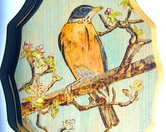 Woodburning of a Robin and Apple Blossoms