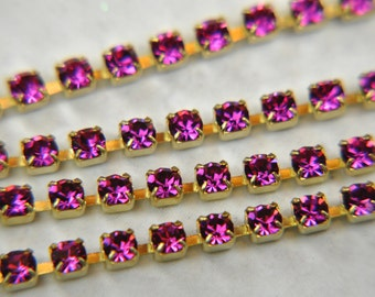 Rhinestone cup chain 4mm Preciosa crystals fuchsia sold by 5inch of continuous length