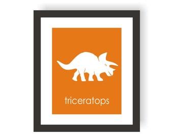 Dinosaur Nursery Decor - Triceratops, Baby Boy Dinosaur, Modern Nursery Art, Paleontology Art, Playroom Wall Art, Little Boys Room Art