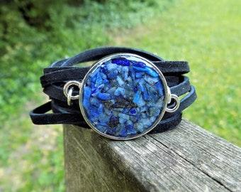 Wrap Bracelet, Blue Lapis Lazuli, Suede bracelet, Leather Jewelry, Resin Jewelry, Stone, Leather, Women accessories, nature, terrarium