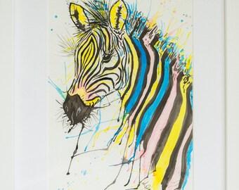 Zebra Original Art Watercolour Painting