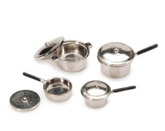 Miniature Cookware, Doll Pits and Pans, Mini Silver Pans, Tiny Dishes Fairy Accessory, Dollhouse Miniatures, Fairy Garden Miniatures