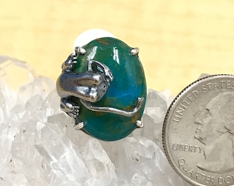 Frog Blue Peruvian Opal Ring, Size 7 1/2