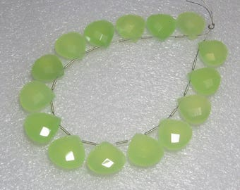 Chalcedony Prehnite Green Color Faceted - 10 Matching Pairs - Heart Shape - size 15x15 mm