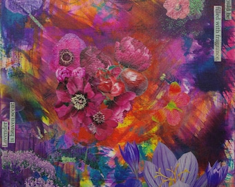 Heaven Scent - Original Acrylic Collage of Flowers