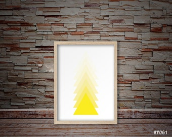 triangle art, triangle print, yellow art, minimalist art, modern art, abstract art, geometric triangle art #P061