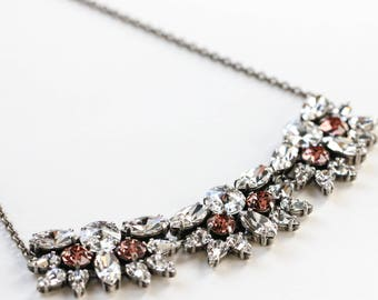 SALE Swarovski Crystal Statement Necklace, Antique Silver