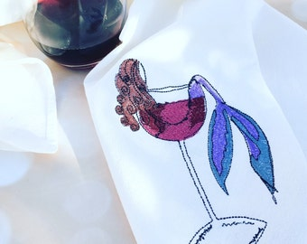 Brunette Mermaid In Wine Dish Towels Flour Sack Dish Cloth