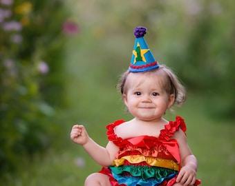 1st Birthday Hat - Rainbow Party Hat - Birthday Party Outfit - Cake Smash Hat - Mini Party Hat - Rainbow Baby - Birthday Party Hat