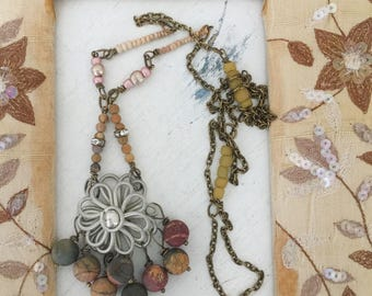 vested~upcycled flower pendant, repurposed necklace, picasso beads, assemblage, repurposed boho necklace, woodland, mori girl, shabby