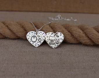 Mother necklace, Sterling silver mamma owl, Sterling silver mamma penguin necklace