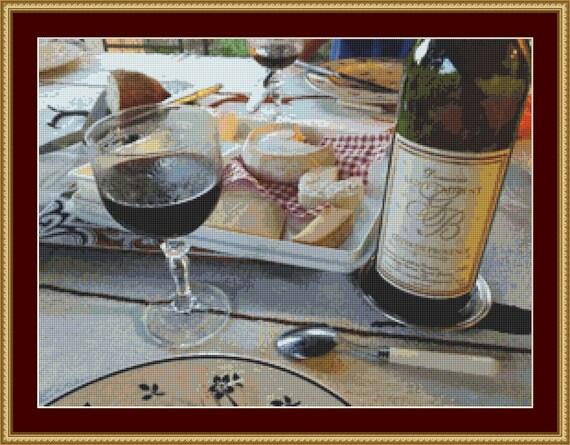 Red Wine Cross Stitch Pattern /Digital PDF Files /Instant downloadable