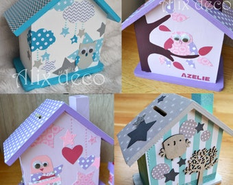 Kids wooden piggy bank: House - hut decorated theme (made to order)