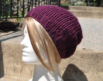 Plum Slouchy Knit Hat - Wool Winter Hat - Unisex Slouchy Beanie