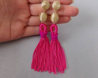 Gold Thread Ball and Pink Tassel Statement Earrings