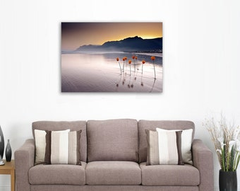 Dusk over the Calm Lake - Landscape Canvas Print Wall Art / Stretched or Rolled / Available in 1, 3, and 5 Panels
