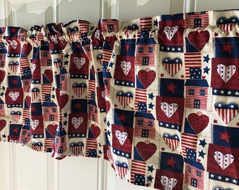 Americana patchwork country usa curtain valance