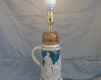upcycled beer stein lamp
