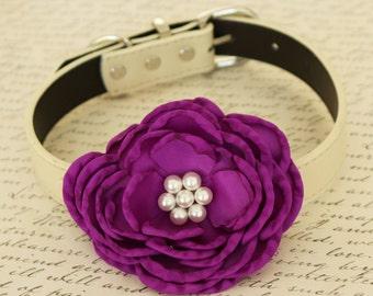 Purple Flower Wedding dog collar, Dog birthday gift, Pet wedding, flowers with Pearls, Wedding dog collar, Purple