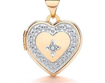 9ct 2 Colour Gold Heart Shaped 2 Photo Locket Set With Single Diamond Hallmarked