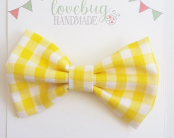 Yellow gingham hair bow,  baby hair bow, checkered bow clip, bow headband, checkered bow tie, hair bow, gingham headband