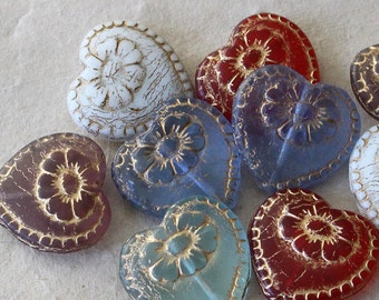 Czech Glass Beads - Victorian Glass Heart Beads - Jewelry Making Supply - Valentines Day Heart - 17mm (5 pair - 10 beads)
