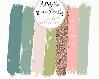 Paint Brush Stroke Clip Art Clipart Green Peach Gold Acrylic Glitter HiRes PNG Commercial Use Hand Drawn Graphics Instant Digital Download