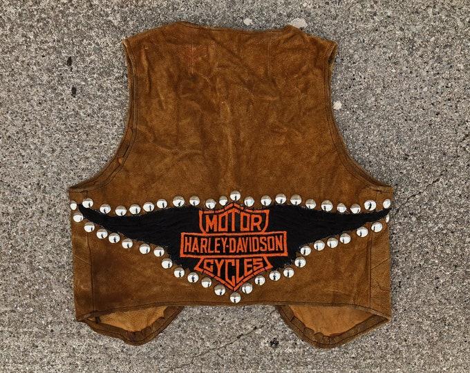 Featured listing image: Vintage 60's studded leather Harley Davidson vest