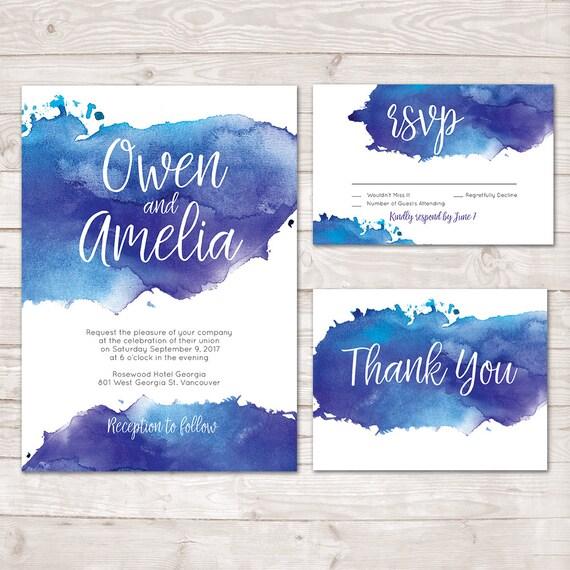 Blue watercolor wedding invitations printable wedding stopboris Gallery